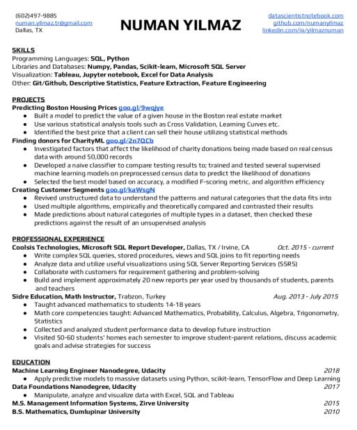 resume numan yilmaz - Machine Learning Resume
